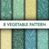 Conjunto de silhueta padrão vegetal vetor