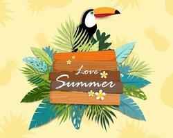 Lindo amor verão banner e cartaz cartão vetor