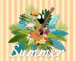 Lindo verão banner e cartaz cartão tropical