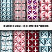 Conjunto de padrões geométricos sem costura listrados vetor