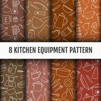 Conjunto de ferramentas de cozinha sem costura padrão vetor