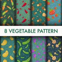 Conjunto de vegetais bonito padrão vetor