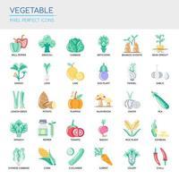Conjunto de vegetais linha fina e ícones perfeitos de pixel para qualquer projeto web e app. vetor