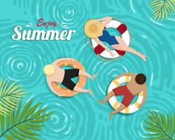 Lindo verão banner e cartaz cartão de piscina vetor