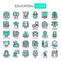 Linha fina de educação e ícones perfeitos de Pixel vetor