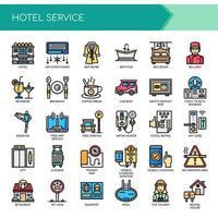 Serviços de hotel, linha fina e ícones perfeitos de Pixel vetor