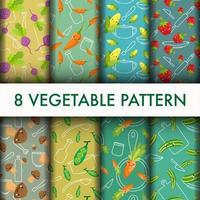 Conjunto de vegetais sem costura padrão. vetor