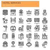 Linha fina de serviços de hotel e ícones perfeitos de Pixel vetor