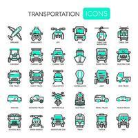 Transporte, linha fina e ícones perfeitos de Pixel