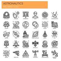 Linha fina de astronáutica e ícones perfeitos de pixel