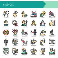Elementos médicos, linha fina e ícones perfeitos de Pixel vetor