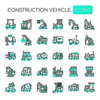 Linha fina de veículo de construção e ícones perfeitos de Pixel vetor