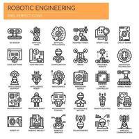 Engenharia robótica, linha fina e ícones perfeitos de pixels