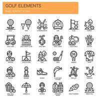 Elementos de golfe, linha fina e ícones perfeitos de Pixel