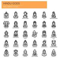 Deuses hindus, linha fina e ícones perfeitos de pixels vetor