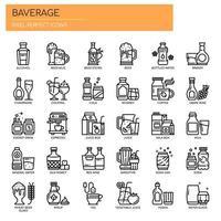 Ícones de bebidas, linha fina e pixel perfeitos vetor