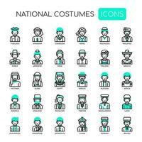 Trajes nacionais, linha fina e ícones perfeitos de Pixel vetor