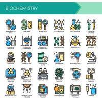 Elementos de bioquímica, linha fina e ícones perfeitos de Pixel vetor