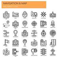 Linha fina de mapa de navegação e ícones perfeitos de Pixel vetor