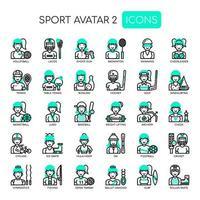 Avatares Sportgirl, linha fina e ícones perfeitos de Pixel vetor