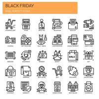 Linha fina de sexta-feira negra e ícones perfeitos de Pixel