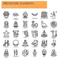 Elementos pré-históricos, linha fina e ícones perfeitos de Pixel vetor