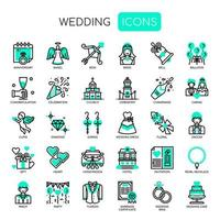 Elementos de casamento, linha fina e ícones perfeitos de Pixel