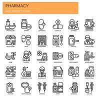 Elementos de farmácia, linha fina e ícones perfeitos de Pixel