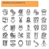 Elementos de costura, linha fina e ícones perfeitos de Pixel vetor