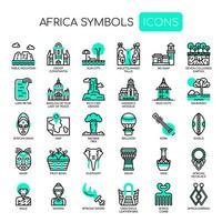 Elementos de África, linha fina e ícones perfeitos de Pixel vetor