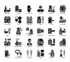 Elementos de farmácia, ícones de glifo vetor