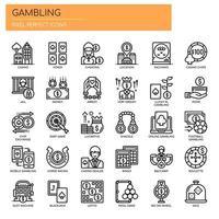Elementos de jogo, linha fina e ícones perfeitos de Pixel