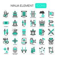 Elementos ninja, linha fina e ícones perfeitos de pixel vetor