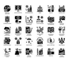 Poupança e investimento, ícones de glifo vetor