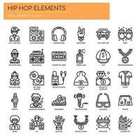 Elementos de Hip Hop, linha fina e ícones perfeitos de Pixel vetor