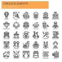 Elementos de circo, linha fina e ícones perfeitos de Pixel vetor