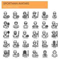 Avatares de Sportman, linha fina e ícones perfeitos de Pixel vetor
