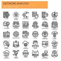 Análise de rede, linha fina e ícones perfeitos de pixels vetor