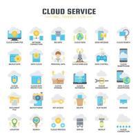 Serviço em nuvem, linha fina e ícones perfeitos de pixels vetor
