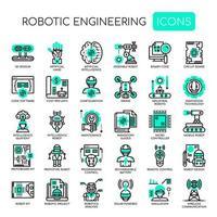 Engenharia robótica, linha fina e ícones perfeitos de pixels vetor