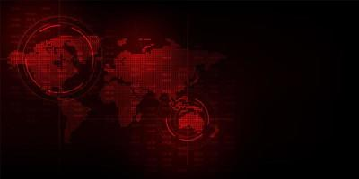 Exibição de mapa global de tecnologia vermelha vetor