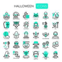 Elementos de Halloween, linha fina e ícones perfeitos de Pixel