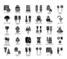 Doce e doce, ícones de glifo