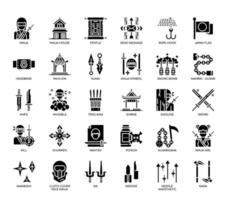 Elementos ninja, ícones de glifo vetor