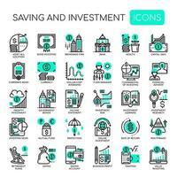 Economia e investimento, linha fina e ícones perfeitos de pixels vetor