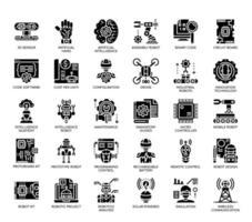 Engenharia robótica, ícones de glifo vetor