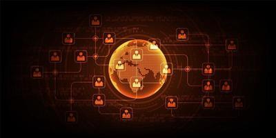 Display de comunicação de rede digital globo vetor