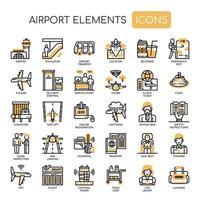 Elementos de aeroporto, linha fina e ícones perfeitos de Pixel vetor