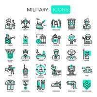 Elementos militares, linha fina e ícones perfeitos de Pixel vetor