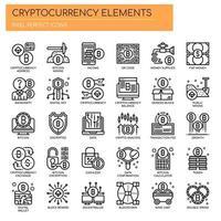 Elementos de criptomoeda, linha fina e ícones perfeitos de Pixel